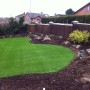 Newly layed artificial grass to transform the yard